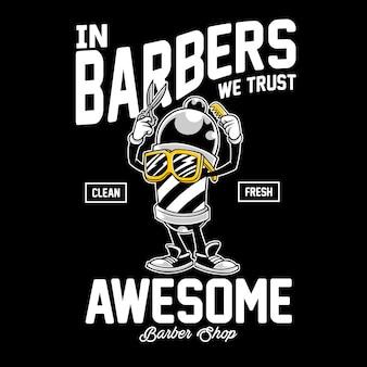 Personaje de dibujos animados de barber pole para diseño de camiseta