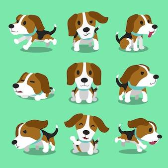 Personaje de dibujos animados beagle dog poses