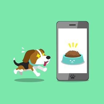 Personaje de dibujos animados beagle lindo y teléfono inteligente