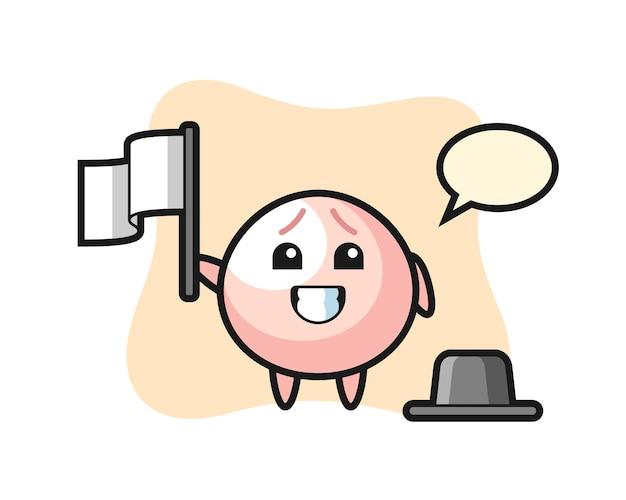 Personaje de dibujos animados de bollo de carne sosteniendo una bandera, diseño de estilo lindo para camiseta, pegatina, elemento de logotipo