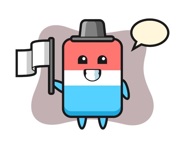 Personaje de dibujos animados de borrador sosteniendo una bandera, estilo lindo, pegatina, elemento de logotipo