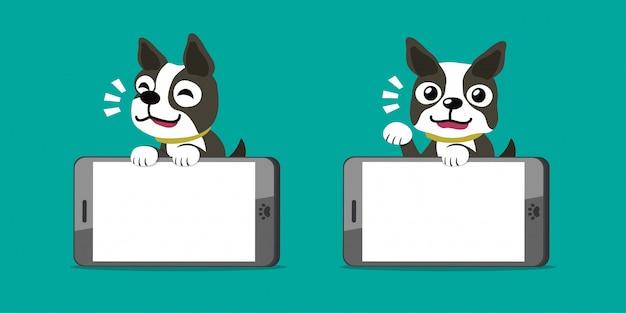 Personaje de dibujos animados boston terrier perro y teléfonos inteligentes