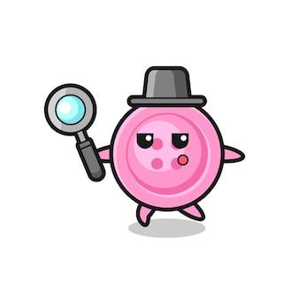 Personaje de dibujos animados de botón de ropa buscando con una lupa, diseño lindo