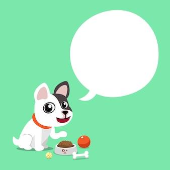 Personaje de dibujos animados bulldog francés con burbujas de discurso
