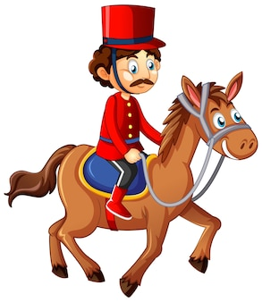 Personaje de dibujos animados de caballo de montar a caballo del rey
