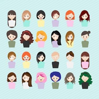 Personaje de dibujos animados con cabeza de niña conjunto
