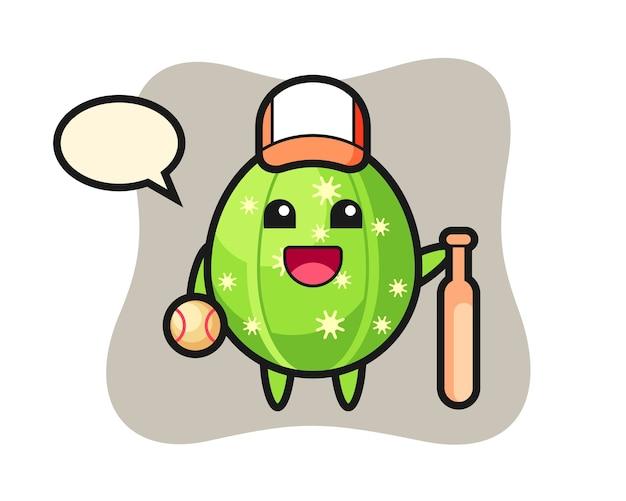 Personaje de dibujos animados de cactus como jugador de béisbol