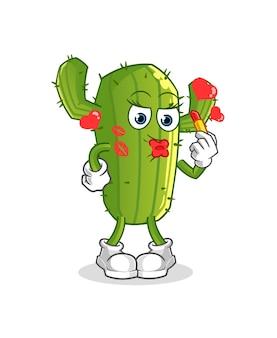 Personaje de dibujos animados de cactus componen mascota