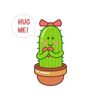 Personaje de dibujos animados de cactus femenino pidiendo un abrazo. cactus abraza el corazón.