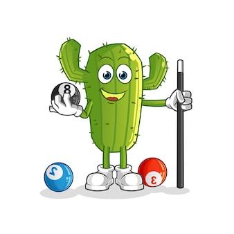 Personaje de dibujos animados de cactus juega al billar
