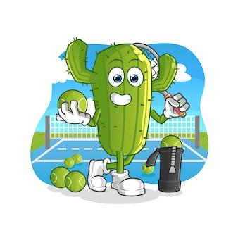 Personaje de dibujos animados de cactus juega al tenis