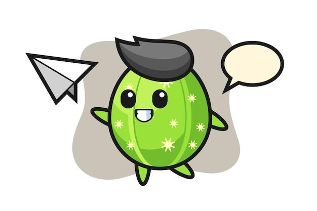 Personaje de dibujos animados de cactus lanzando avión de papel