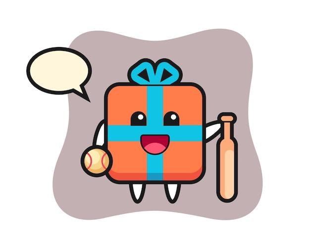 Personaje de dibujos animados de caja de regalo como jugador de béisbol