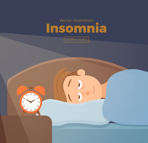 Personaje de dibujos animados de cara de hombre insomnio sufre de insomnio. chico con los ojos abiertos en la noche de oscuridad en concepto de cama. hombre triste despierto, cansado con no puedo soñar ilustración del problema