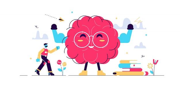 Personaje de dibujos animados de cerebro en forma, concepto de ilustración de persona pequeña plana.