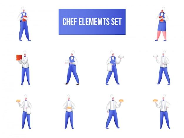 Personaje de dibujos animados, chef en diferentes poses.