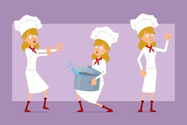 Personaje de dibujos animados chef plano cocinero mujer en uniforme blanco y sombrero de panadero. chica llevando una olla de metal con agua y mostrando la señal de stop.