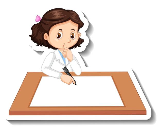 Personaje de dibujos animados de chica científico con mesa en blanco