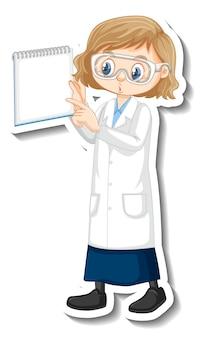 Personaje de dibujos animados de chica científico con papel de nota en blanco