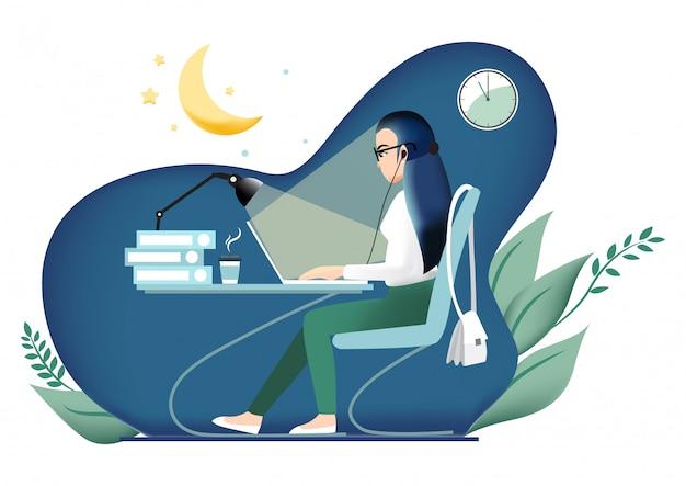 Personaje de dibujos animados con chica trabajando hasta tarde en la oficina.