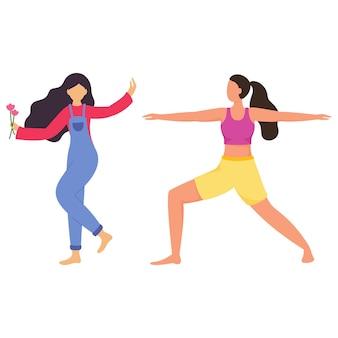 Personaje de dibujos animados de chicas jóvenes en diferentes actividades.