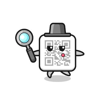Personaje de dibujos animados de código qr buscando con una lupa, diseño lindo