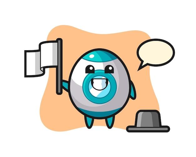 Personaje de dibujos animados de cohete sosteniendo una bandera, diseño de estilo lindo para camiseta, pegatina, elemento de logotipo