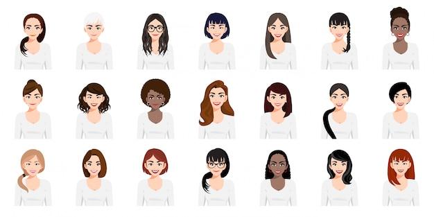 Personaje de dibujos animados con un conjunto de chicas lindas con diferentes peinados y diseño de estilo de icono plano de color