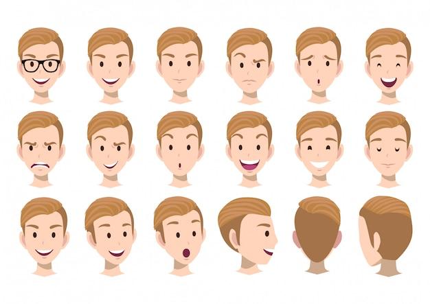 Personaje de dibujos animados con conjunto de vectores de cabeza de hombre