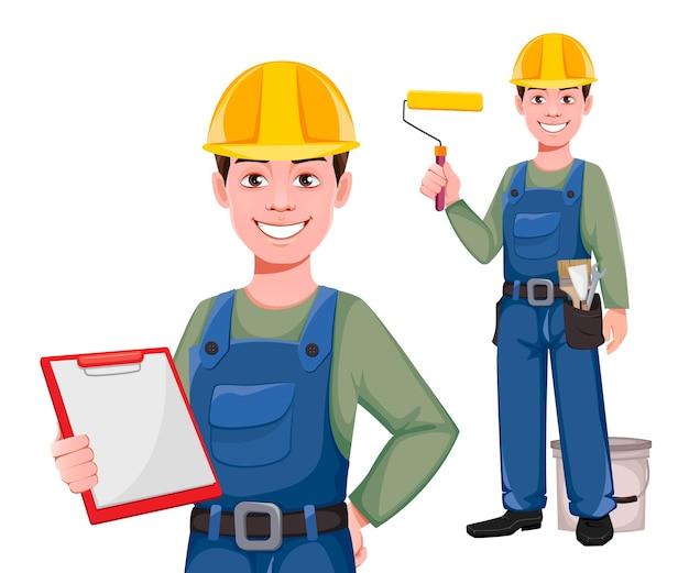 Personaje de dibujos animados de constructor, conjunto de dos poses