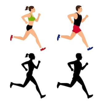 Personaje de dibujos animados corriendo personas