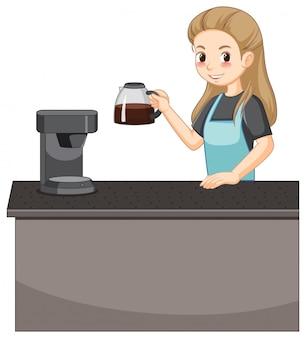 Personaje de dibujos animados de dama barista con café