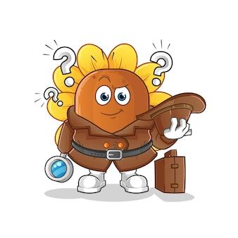 Personaje de dibujos animados detective de flor de sol