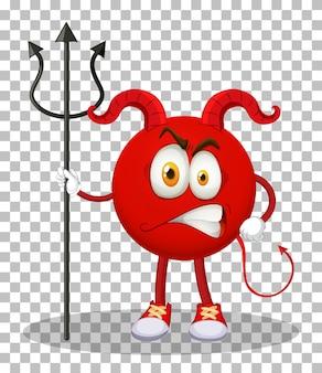 Un personaje de dibujos animados del diablo rojo con expresión facial sobre fondo transparente