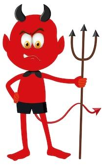 Un personaje de dibujos animados de diablo rojo con expresión facial.