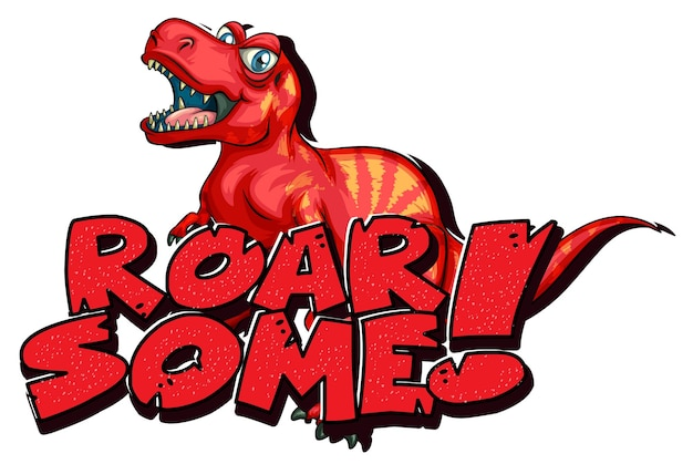 Personaje de dibujos animados de dinosaurios con banner de fuente rugido