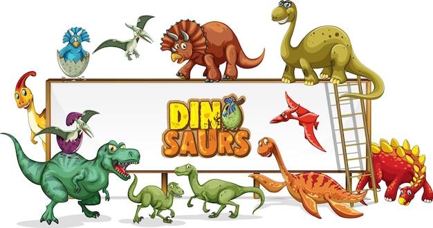 Personaje de dibujos animados de dinosaurios en la escena de la naturaleza