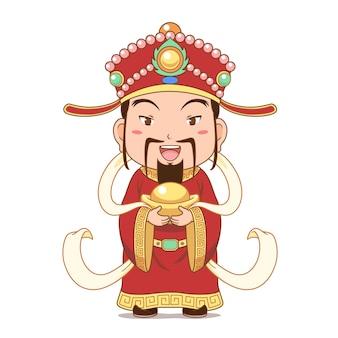 Personaje de dibujos animados del dios de la riqueza con lingotes de oro para la celebración del año nuevo chino.