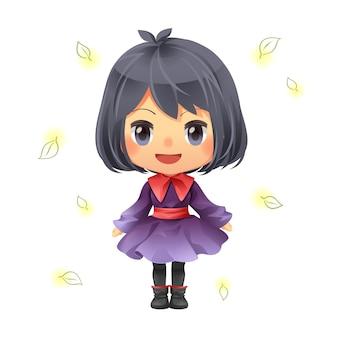Personaje de dibujos animados de diseño encantadora niña