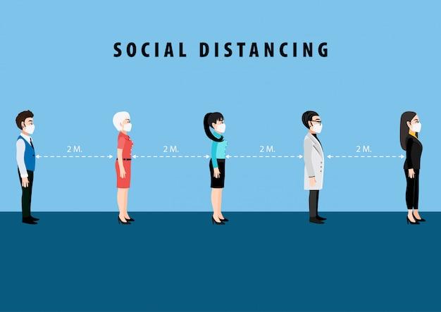 Personaje de dibujos animados con distanciamiento social.