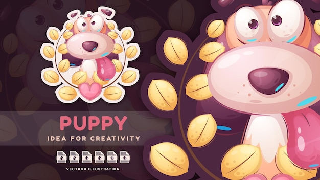 Personaje de dibujos animados divertido animal perro lindo pegatina