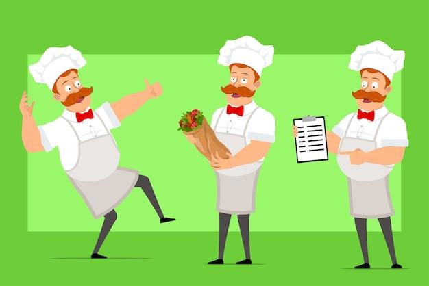 Personaje de dibujos animados divertido chef cocinero hombre en uniforme blanco y sombrero de panadero