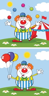 Personaje de dibujos animados divertido payaso