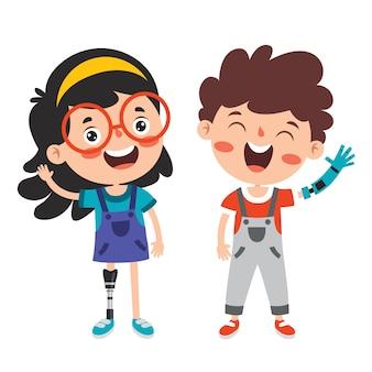 Personaje de dibujos animados divertido con prótesis