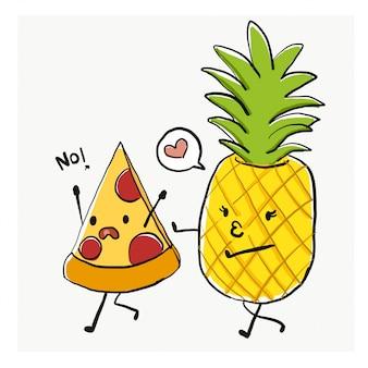 Personaje de dibujos animados divertidos, pizza y piña
