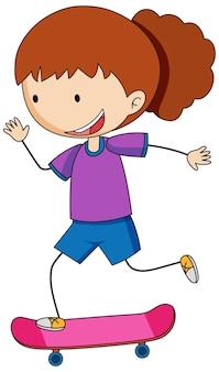 Personaje de dibujos animados de doodle de una niña jugando en patineta