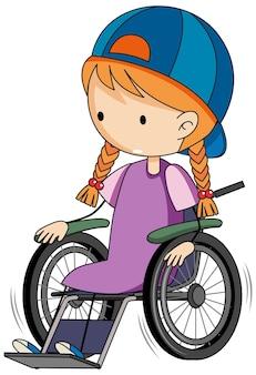 Personaje de dibujos animados de doodle de una niña sentada en una silla de ruedas