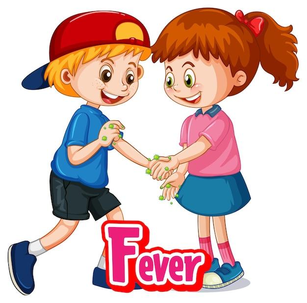 El personaje de dibujos animados de dos niños no mantiene la distancia social con la fuente fever aislada sobre fondo blanco
