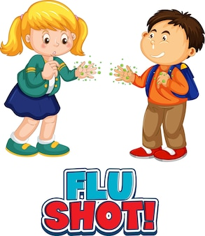 El personaje de dibujos animados de dos niños no mantiene la distancia social con la fuente de la vacuna contra la gripe aislada en blanco