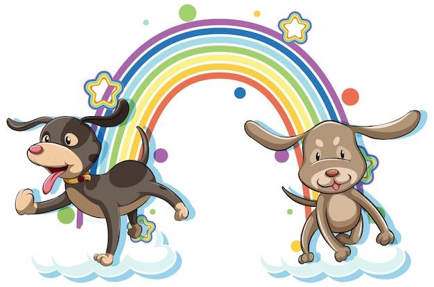 Personaje de dibujos animados de dos perros con arco iris